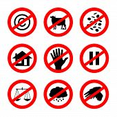 picture of taboo  - set of nine alternative prohibition traffic sign meaning such as - JPG
