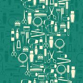 picture of hair curlers  - Hairdressing tools seamless pattern in retro style - JPG
