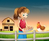 Illustration of a woman holding an eggtray with eggs near the fence