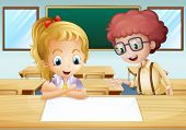 Illustration of a girl and a boy watching the empty signboard inside the classroom