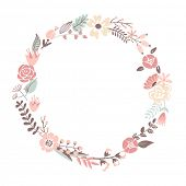 Floral Frame. Cute retro flowers arranged un a shape of the wreath perfect for wedding invitations a