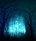 Vector illustration Abstract dramatic night tree