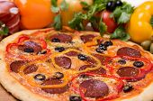 stock photo of hot fresh pizza  - a hot pizza with garnish and ingredients - JPG