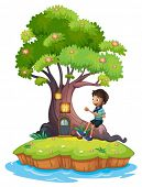 Illustration of a boy sitting above the roots of a tree amazed by the treehouse on a white backgroun