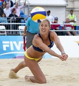 12/08/2011 LONDON, ENGLAND, Denise Johns (GBR)  during the FIVB International Beach Volleyball tourn