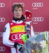 VAL D'ISERE FRANCE. 12-12-2010. Marcel Hirscher (AUT) winner  at the presentation ceremony for the alpine skiing world cup slalom race on the Bellevarde race piste Val D'Isere.