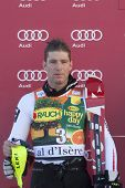 VAL D'ISERE FRANCE. 12-12-2010. Benny Raich (AUT) 2nd at the presentation ceremony for the alpine sk