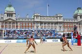 10/08/2011 LONDON, ENGLAND, Heather Bansley & Elizabeth Maloney (CAN) vs Alejandra Simon & Andrea Garci�?�a Gonzalo (ESP) during the FIVB Beach Volleyball, at Horse Guards Parade, Westminster, London.