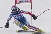 VAL D'ISERE FRANCE. 15-12-2010. Megan McJames (USA) speeds down the course, during the first officia