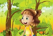 picture of hollow log  - Illustration of a happy girl near the trees - JPG