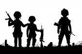 Editable vector silhouettes of three children dressed as soldiers with figures as separate objects