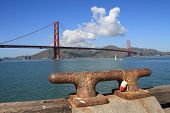Usa, San Francisco- Golden Gate Bridge And Boat Mooring