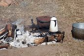 Campfire with cooking pans