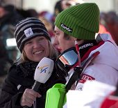 VAL D'ISERE FRANCE. 12-12-2010. Shuana Farnell from FIS interviews HIRSCHER Marcel AUT after the second run of the alpine skiing world cup slalom race on the Bellevarde race piste Val D'Isere.
