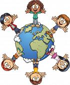 Cute cartoon kids around the world. Vector clip art illustration with simple gradients. Each element on a separate layer.