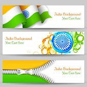 picture of ashok  - illustration of set of banner and header for colorful India - JPG