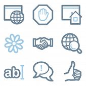 Internet icons, blue line contour series