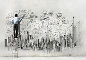 picture of sketche  - Back view of businessman drawing sketch on wall - JPG