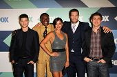 SLOS ANGELES - AUG 1:  Parker Young, Keith David, Angelique Cabral, Geoff Stults, Chris Lowell arriv