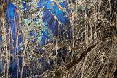 pic of labradorite  - Detail close up of the patterns and colours in the feldspar mineral Labradorite - JPG