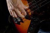 Man playing an bass guitar