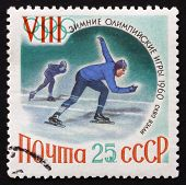 Postage Stamp Russia 1960 Speed Skating, Olympic Sports, Squaw V