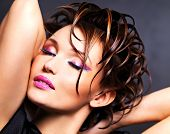 picture of saxy  - Beautiful saxy woman with bright pink makeup and stylish fashion hairstyle  - JPG