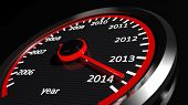 image of speedometer  - Conceptual 2014 year speedometer - JPG