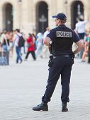 Paris, France - July 28 2013: French Police Control The Street At The Louvre During One Of The Busie