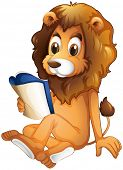 Illustration of a lion reading a book on a white background