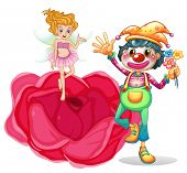 stock photo of clown rose  - Illustration of a big flower with a fairy and a clown on a white background - JPG