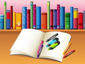 Illustration of an empty book with coloring materials in front of a wooden shelf with books