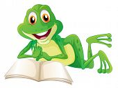 image of non-toxic  - Illustration of a frog lying while reading a book on a white background - JPG