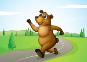 Illustration of a bear running at the road
