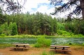 Picnic Tables And River