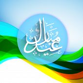 Tag, label or sticker with arabic Islamic calligraphy of text Eid Mubarak on shiny waves background.