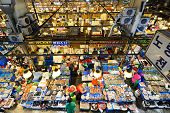 SEOUL - FEBRUARY 18: Aerial view of shoppers at Noryangjin Fisheries Wholesale Market February 18, 2