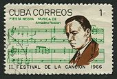 CUBA - CIRCA 1966: A stamp printed in Cuba shows image of the Amadeo Roldan y Gardes (Paris, 12 June
