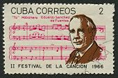 CUBA - CIRCA 1966: A stamp printed in Cuba shows image of the Eduardo Sanchez de Fuentes  was a Cuba