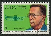 CUBA - CIRCA 1974: A stamp printed in Cuba shows image of the Cuban trumpeter Pedro Mercado, circa 1