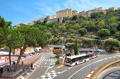 MONTE CARLO, MONACO - JULY 13: Urban road with buses which is used for Formula One races and Monaco-