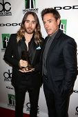 Jared Leto and Robert Downey Jr. at the 17th Annual Hollywood Film Awards Backstage, Beverly Hilton Hotel, Beverly Hills, CA 10-21-13