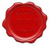 Above Quality - Illustration Red Wax Seal Isolated On White Background With Word : Above