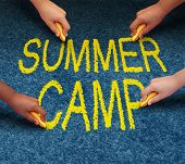 image of arts crafts  - Summer camp with multiethnic school kids drawing words on a pavement outdoor floor as a symbol of recreation and fun education with a group of children working as a team for learning success - JPG
