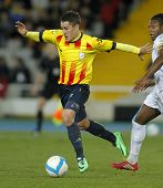 BARCELONA - DEC, 30: Catalan player Bojan Krkic in action during the friendly match between Cataloni