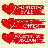 Valentines Day Sale And Discount, Special Offer With Hearts In Red Banners