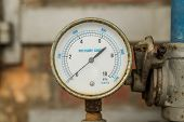 Pressure Gauge Connected To Pipes