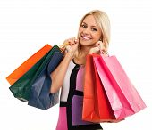 Blonde With Shopping Bags In Hand