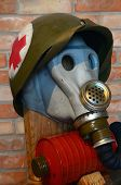 KIEV, UKRAINE -NOV 3: Vintage Soviet gas mask during historical military reenactment, festival and e