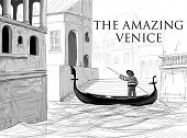 Venice canals, gondola sketch